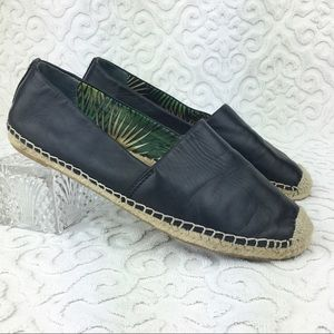 Sam Edelman Lynn Black Leather Espadrilles Flats